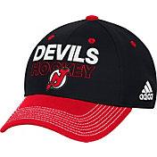adidas Men's New Jersey Devils Locker Room Black Structured Fitted Flex Hat