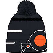 adidas Men's Philadlephia Flyers Logo Black Pom Knit Beanie
