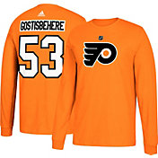 adidas Men's Philadelphia Flyers Shayne Gostisbehere #53 Orange Long Sleeve Shirt