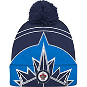 adidas Men's Winnipeg Jets Logo Blue Pom Knit Beanie