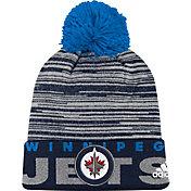 adidas Men's Winnipeg Jets Locker Room Navy Pom Knit Beanie