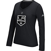 adidas Women's Los Angeles Kings Primary Position Black Performance V-Neck Long Sleeve Shirt