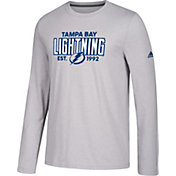 adidas Men's Tampa Bay Lightning Go-To Established Grey Performance Long Sleeve Shirt