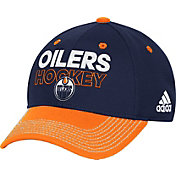 adidas Men's Edmonton Oilers Locker Room Royal Structured Fitted Flex Hat