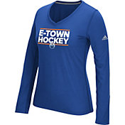 adidas Women's Edmonton Oilers Local Dassler Royal Performance V-Neck Long Sleeve Shirt