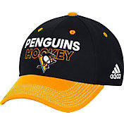 adidas Men's Pittsburgh Penguins Locker Room Black Structured Fitted Flex Hat