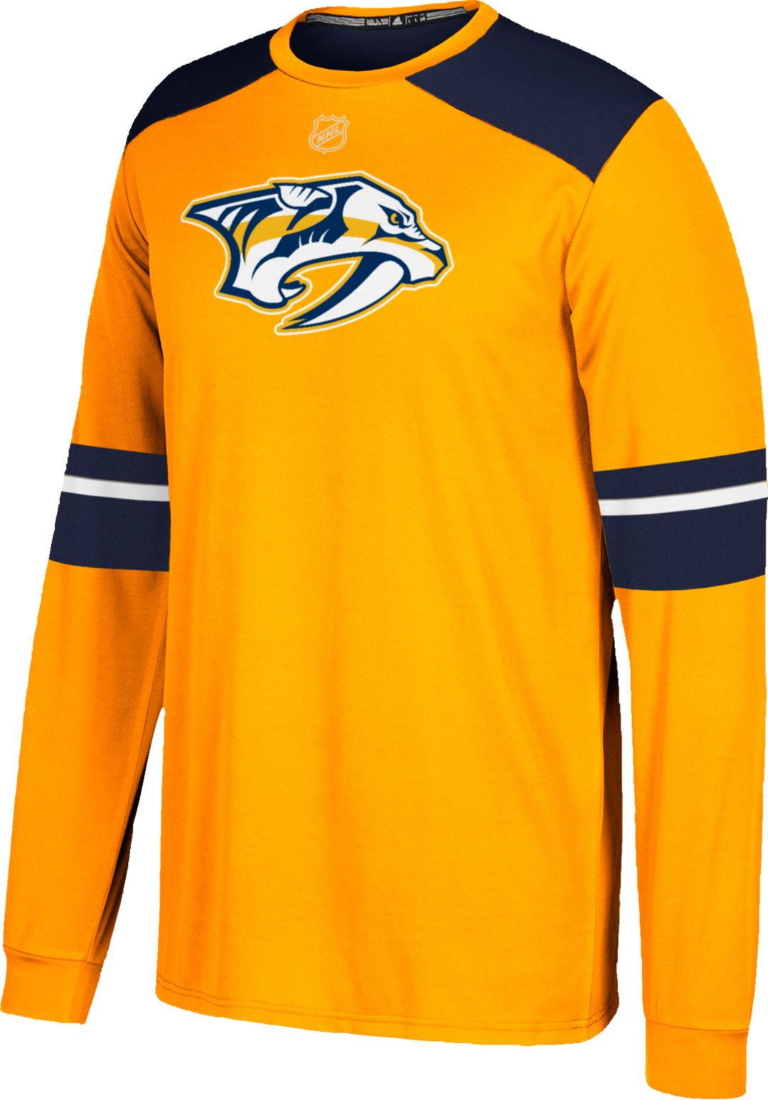 san francisco 27df4 2fbf7 adidas Men's Nashville Predators Jersey Gold Long Sleeve Shirt