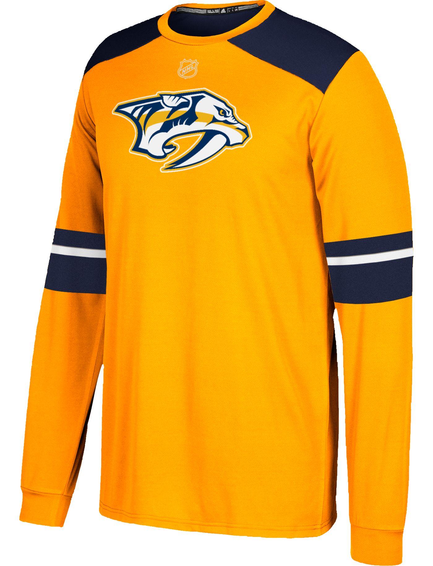 adidas Men's Nashville Predators Jersey Gold Long Sleeve Shirt