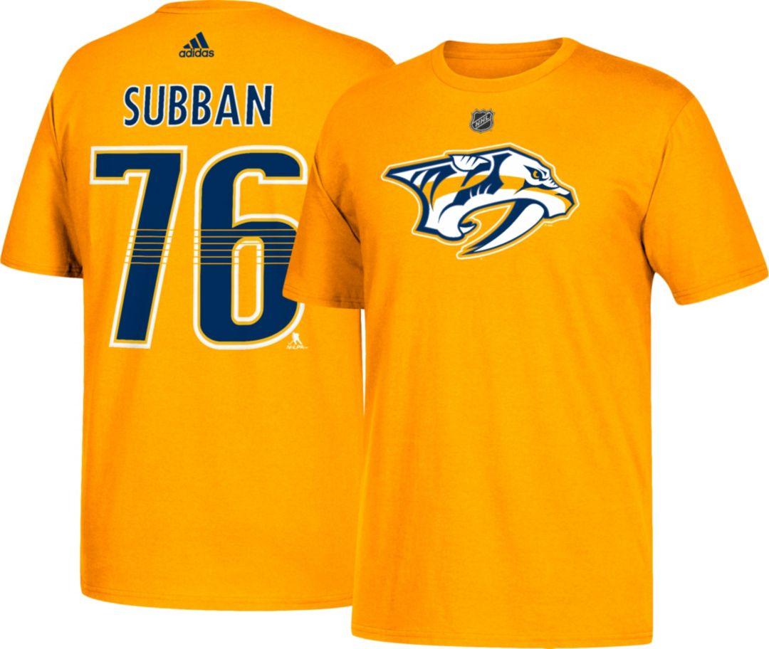 630270b60b adidas Men's Nashville Predators P.K. Subban #76 Gold T-Shirt
