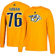 adidas Men's Nashville Predators P.K. Subban #19 Gold Long Sleeve Shirt