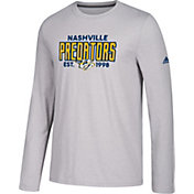 adidas Men's Nashville Predators Go-To Established Grey Performance Long Sleeve Shirt