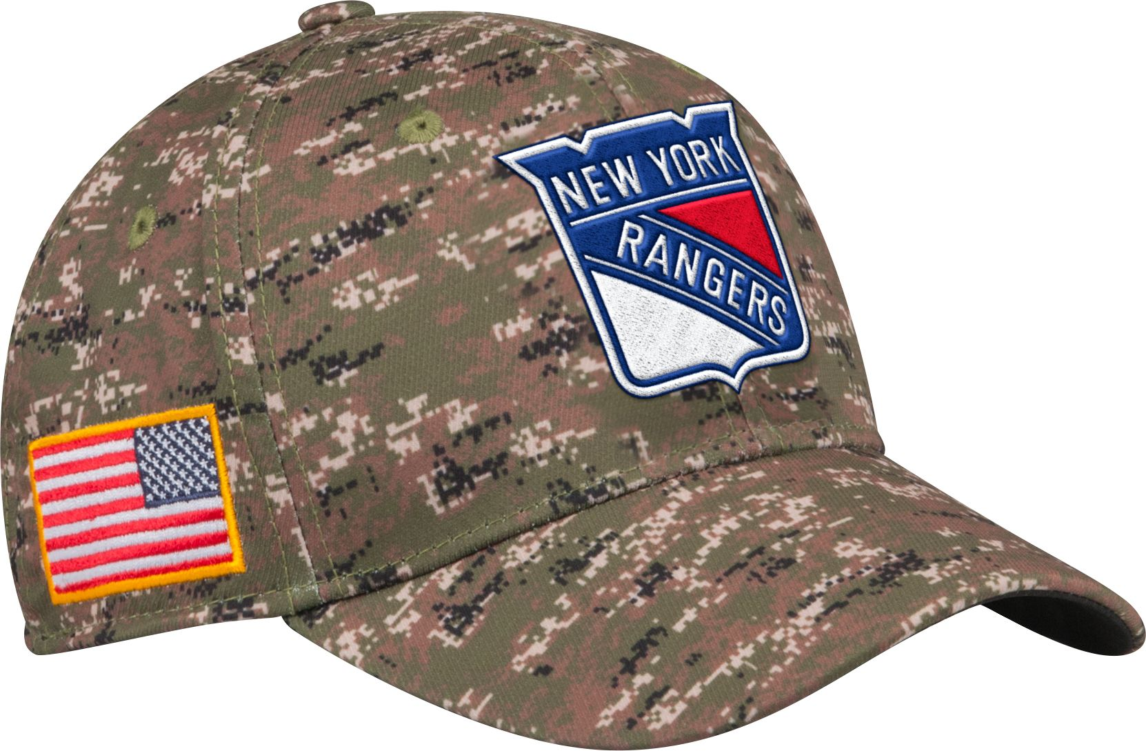adidas Men's New York Rangers Camo Structured Fitted Flex Hat, Size: L/XL, Team thumbnail