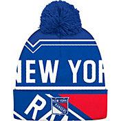 adidas Men's New York Rangers Logo Royal Pom Knit Beanie