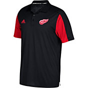 adidas Men's Detroit Red Wings Authentic Pro Game Day Black Performance Polo