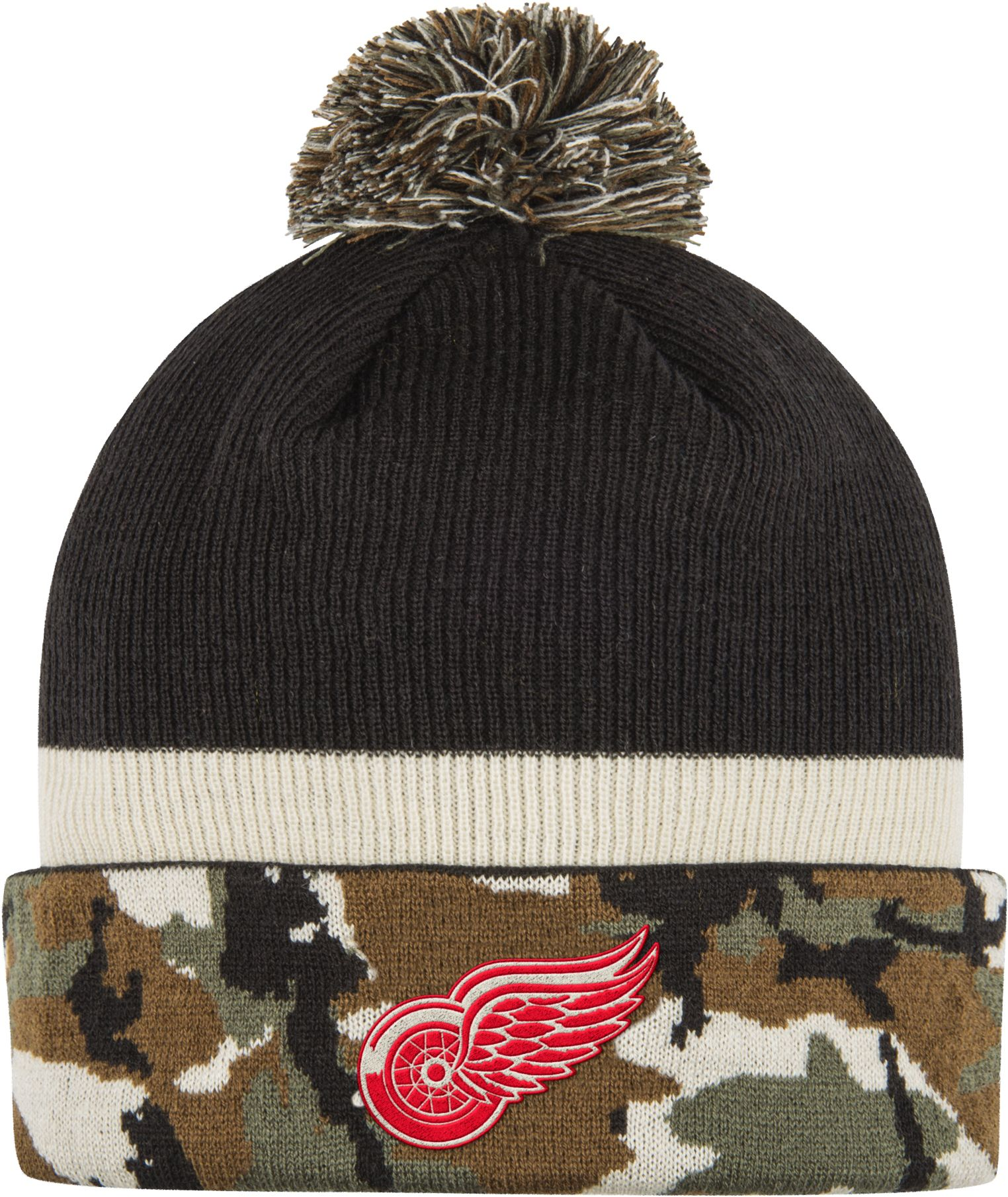 adidas Men's Detroit Red Wings Logo Camo Pom Knit Beanie, Team thumbnail
