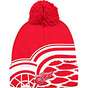 adidas Men's Detroit Red Wings Logo Red Pom Knit Beanie