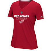 adidas Women's Detroit Red Wings Authentic Ice Ultimate Red Performance V-Neck T-Shirt