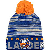adidas Men's New York Islanders Locker Room Royal Pom Knit Beanie