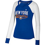 adidas Women's New York Islanders Elbow Patch Royal V-Neck Long Sleeve Shirt