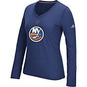 adidas Women's New York Islanders Primary Position Royal Performance V-Neck Long Sleeve Shirt