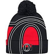 adidas Men's Ottawa Senators Logo Black Pom Knit Beanie