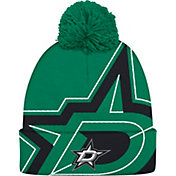adidas Men's Dallas Stars Logo Green Pom Knit Beanie