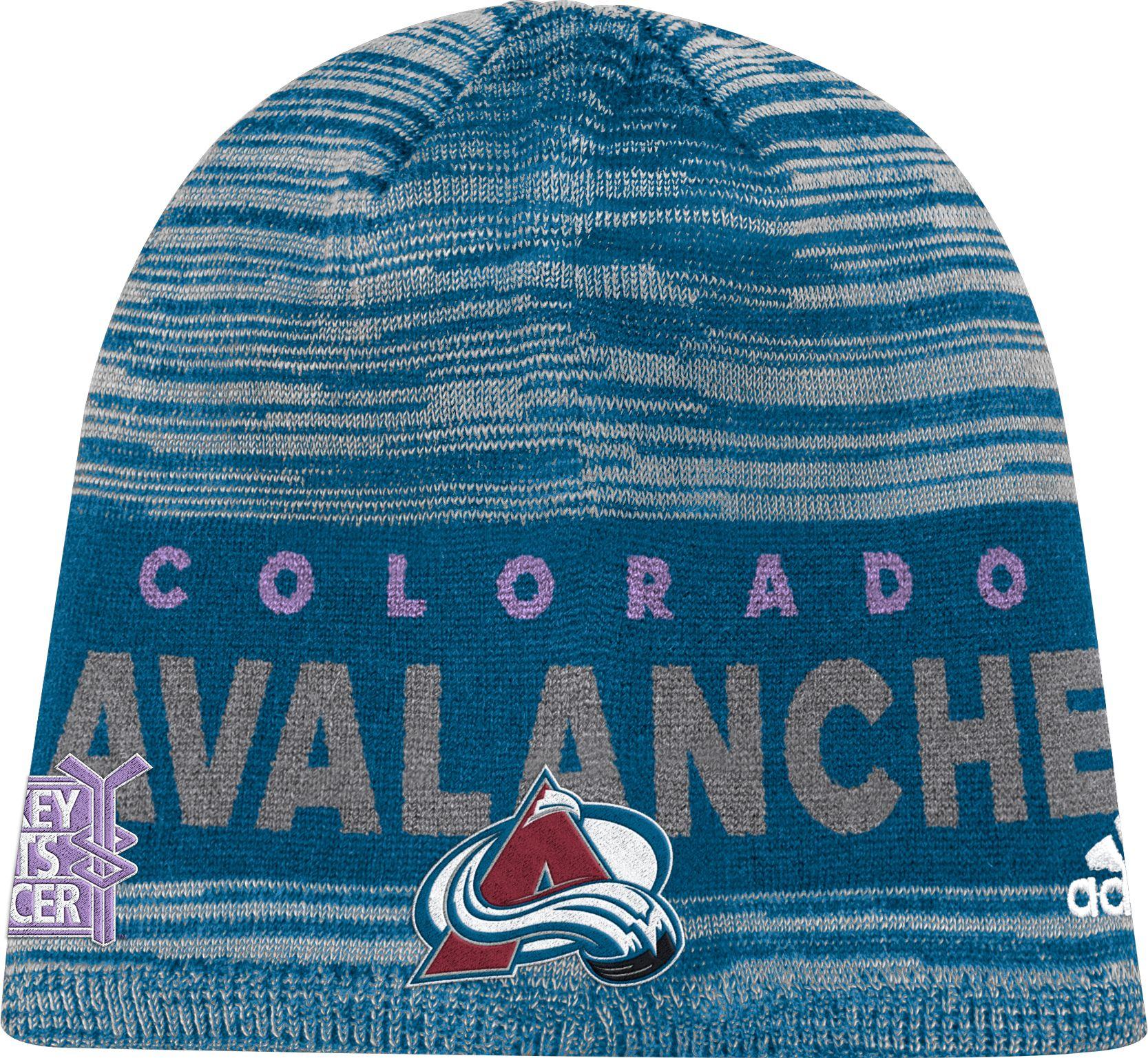 0f3eb3a0ad3 ... closeout adidas mens colorado avalanche hockey fights cancer navy knit  beanie fed61 f9055