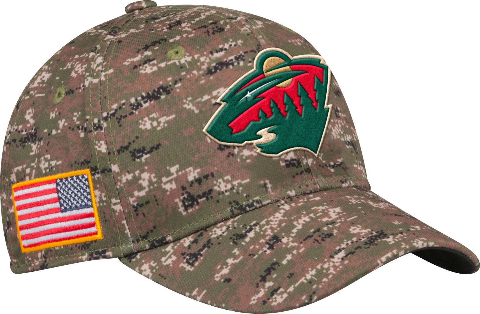adidas Men's Minnesota Wild Camo Structured Fitted Flex Hat, Size: S/M, Team thumbnail