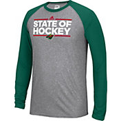 adidas Men's Minnesota Wild Dassler Local Ultimate Grey/Green Performance Long Sleeve Shirt