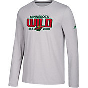 adidas Men's Minnesota Wild Go-To Established Grey Performance Long Sleeve Shirt