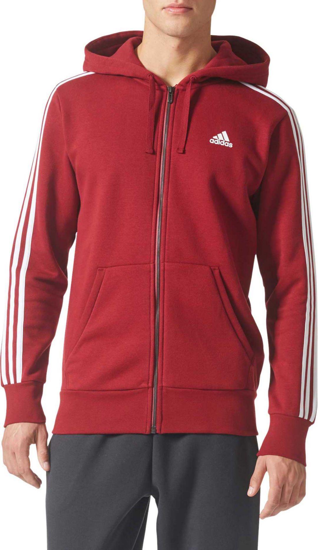 adidas Men's Essentials 3-Stripes Full-Zip Fleece Hoodie
