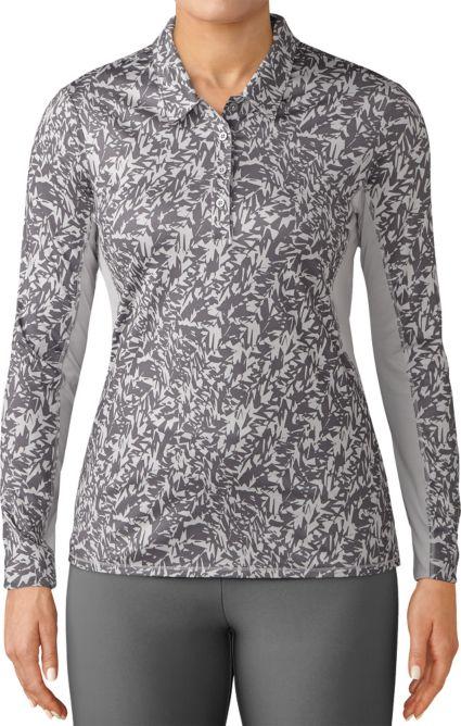 adidas Women's 3-Stripes Long Sleeve Printed UPF Polo