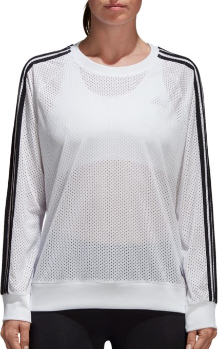 Adidas Women S Essentials Mesh Crewneck Sweatshirt Dick S Sporting