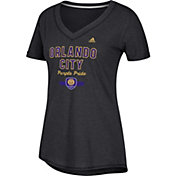 adidas Women's Orlando City Bold Black Heathered Arch V-Neck T-Shirt