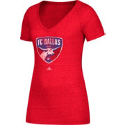 adidas Women's FC Dallas Logo Red Heathered V-Neck T-Shirt
