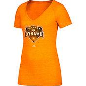 adidas Women's Houston Dynamo Logo Orange Heathered V-Neck T-Shirt