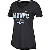 adidas Women's Minnesota United FC Bold Black Heathered Arch V-Neck T-Shirt