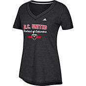 adidas Women's D.C. United Bold Black Heathered Arch V-Neck T-Shirt