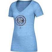 adidas Women's New York City FC Logo Blue Heathered V-Neck T-Shirt