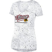 adidas Women's Chicago Blackhawks Script Tail White V-Neck T-Shirt