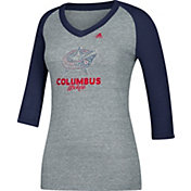 adidas Women's Columbus Blue Jackets Bling Blue 3/4 Sleeve V-Neck Shirt