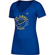 adidas Women's St. Louis Blues Banner Dazzle Royal Heathered T-Shirt