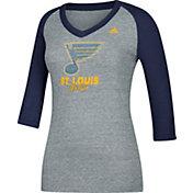 adidas Women's St. Louis Blues Bling Blue 3/4 Sleeve V-Neck Shirt