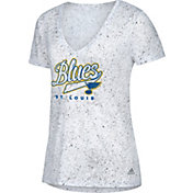 adidas Women's St. Louis Blues Script Tail White V-Neck T-Shirt
