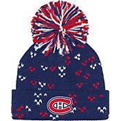 adidas Women's Montreal Canadiens Navy Cuff Pom Knit Beanie