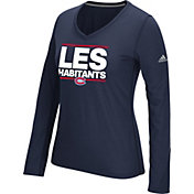 adidas Women's Montreal Canadiens Local Dassler Navy Performance V-Neck Long Sleeve Shirt