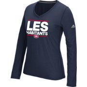 adidas Women's Montreal Canadiens Local Dassler Navy Performance V-Neck Long Sleeve Shirt