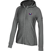 adidas Women's Washington Capitals Logo Grey Full-Zip Hoodie