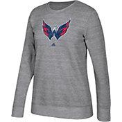 adidas Women's Washington Capitals Distressed Logo Heather Grey Sweatshirt