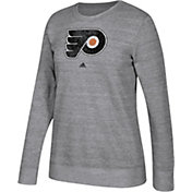 adidas Women's Philadelphia Flyers Distressed Logo Heather Grey Sweatshirt
